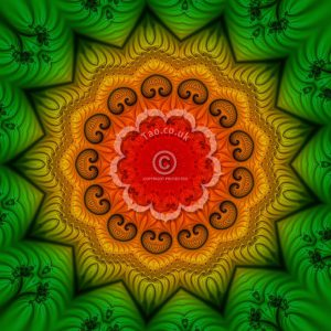 green, gold and red fractal mandala