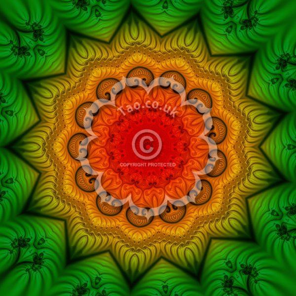 green, gold and red fractal mandala